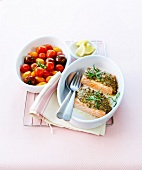 Grilled salmon in mustard crust
