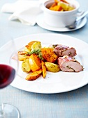 Pheasant fillet stuffed with herbs and coated with pancetta ,potatoes and roasted pumpkin with thyme