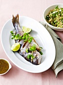Grilled seabream,mint and cilantro marinade,quinoa spring onions