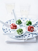 Three-flavored fresh goat's cheese balls