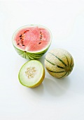 Watermelon, Charentais melon and honeydew melon