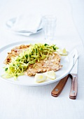 Grilled veal fillet with lemon and olive oil, zucchini and apple sticks