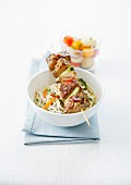 Grilled chicken skewer and spaghettini-herb salad