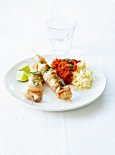 Claresse fish skewers and semolina with stewed tomatoes