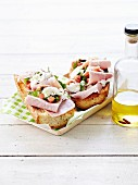 Boiled ham and mozzarella on toast