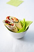 Marinated vegetable and cream cheese vegetarian wraps