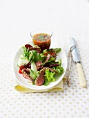 Beef fillet in sesame seed and herb crust ,mixed lettuce salad and spicy salsa