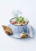 Potted rabbit with cucumber and radishes
