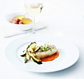 Whiting fillet, red pepper puree and grilled zucchinis