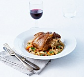 Lamb knuckle joint with bean minestrone
