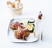 Grilled pork filet mignon rosemary brochettes, grilled zucchinis