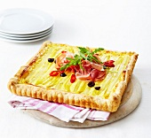 Leek and raw ham savoury tart