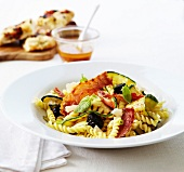 Fusilli with crisp pancetta and zucchinis