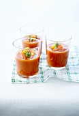 Three colored bell pepper chilled gazpacho