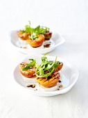Goat's cheese with grilled apricots and pinenuts