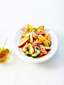 Crayfish and summer fruit and vegetable salad