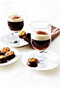 Irish coffee with small biscuits