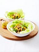 Individual sweet and salty shrimp salad