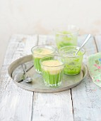 Green and white asparagus smoothies