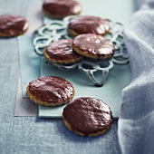 Granary flour cookies coated in chocolate