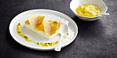 Coconut Panacotta with mango and passion fruit puree