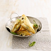 Spinach-feta filo-pastry triangles