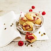 Mini raspberry-pistachio muffins