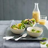 Corn lettuce and orange salad