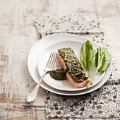 Salmon topped with dill paste