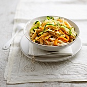 Penne, mussel and vegetable wok