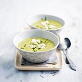 Chilled creamed zucchini soup with feta