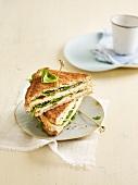 Chicken-cheese-lettuce club sandwich