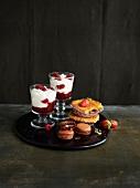 Selection of summer fruit desserts