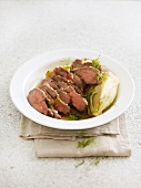 Duck fillet and ginger, fennel, honey and dill