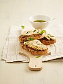 Chicken breast and onion jam on sliced bread