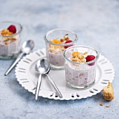Whipped ricotta with apricots, raspberries and crushed cookies