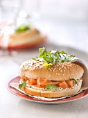 Salmon and poppyseed mustard cream bagel