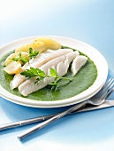 Humpnose big-eye bream fillet with creamed sorrel sauce,steamed potatoes