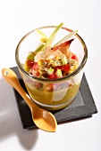 Apple, passionfruit, tomato and flaked crab verrine