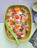 Crushed wheat, cherry tomato,mozzarella and basil Italian-style salad