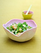 Watercress,avocado,shrimp and pomelo salad