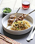 Tandoori chicken skewers,crisp angel hair pasta with broccoli