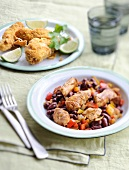 Chicken chili con carne,breaded sliced chicken breasts