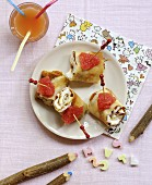 Fromage blanc and caramel pancake rolls with a touch of grapefruit