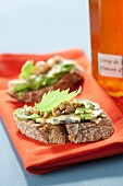 Fourme d'Ambert, walnut and celery on sliced bread