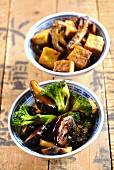 Sautéed mushrooms with broccoli and hoisin sauce, and sautéed shiitake mushrooms with tofu