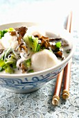 Fishball, coconut milk, mushroom and pak-choi soup