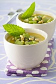 Mango and kiwi soup with pine nuts