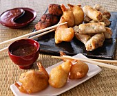 Assortment of Chinese fritters and nems