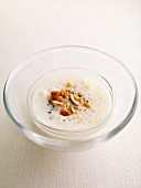 Coconut milk and Japanese pearl pudding with dried fruit